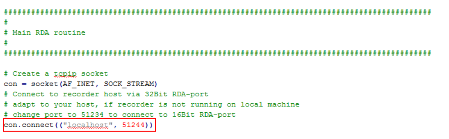 Support Tip - Fig. 4: Excerpt of the RDA Client for Python (RDA.py). The red rectangle identifies the code line where to add the server IP address and port.