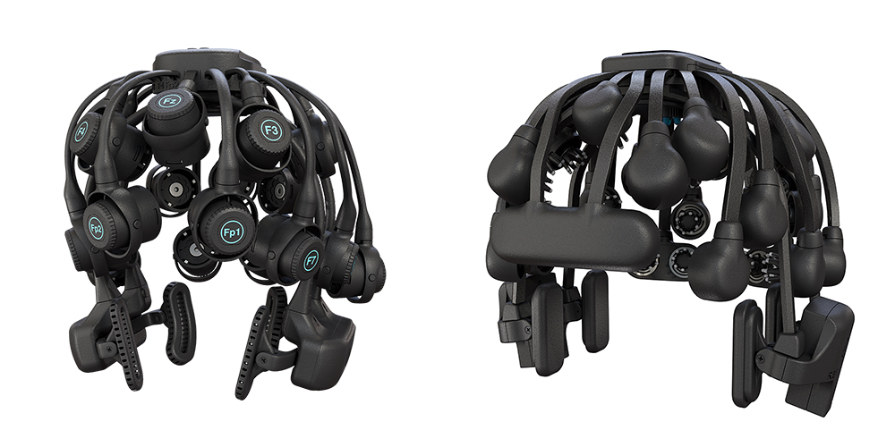 Quick-20r, 20-Channel Dry EEG Headset (left) and Quick-30, 30-Channel Dry EEG Headset (right)