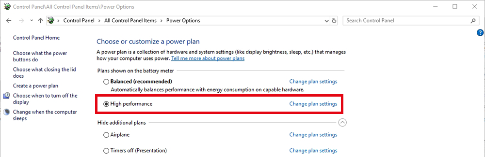 Figure 7: Screenshot of Windows' Powerplan settings.