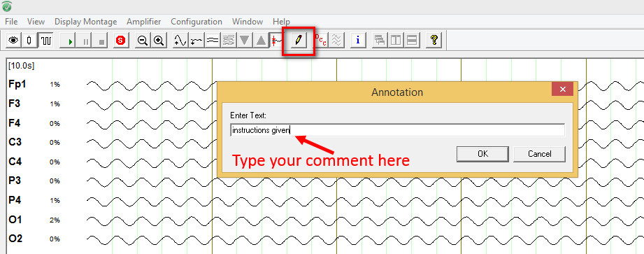 TT06: Click on the Annotation button to place a comment marker in your recording. You can add text in the window that opens.