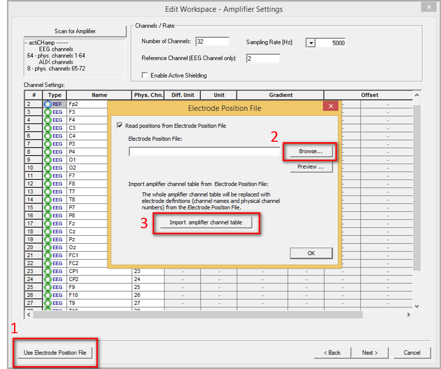TT08: To import electrodes positions into your Recorder workspace go to the second page of the workspace wizard and do the following: 1. click on the Use Electrode Position File button, 2. use the Browse button to locate the electrode file (.bvef file), 3. click on the Import amplifier channel table button. Once you have completed these three steps click on OK to close the window