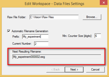 TT09: Check the box next to Automatic Filename Generation on the first page of the workspace wizard to automatically assign a different file name to each new file saved. The resulting filename is a combination of the Prefix and the counter. The counter will increase incrementally each time a new file is saved.